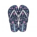Комфортни бразилски чехли с красив флорален мотив / Bull Ipanema 82722/21345 син-сребро / MES.BG