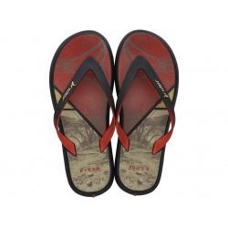 Мъжки бразилски чехли с лента между пръстите / Bull Rider 82731/09772 черен-червен / MES.BG