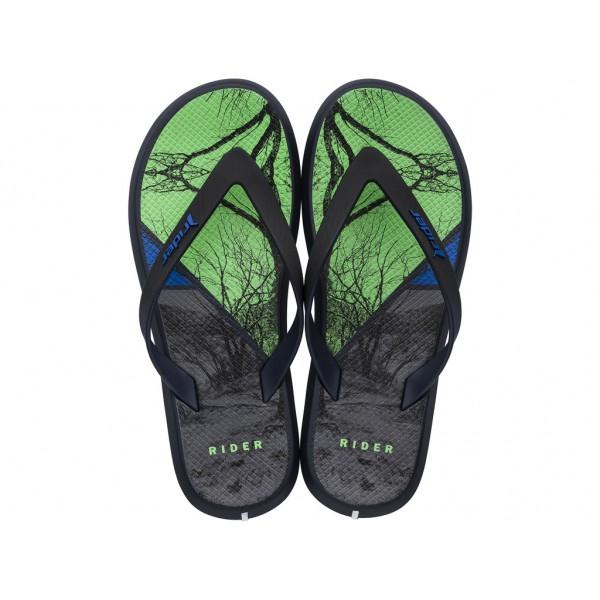 Мъжки бразилски чехли с лента между пръстите / Bull Rider 82731/23528 черен-зелен / MES.BG