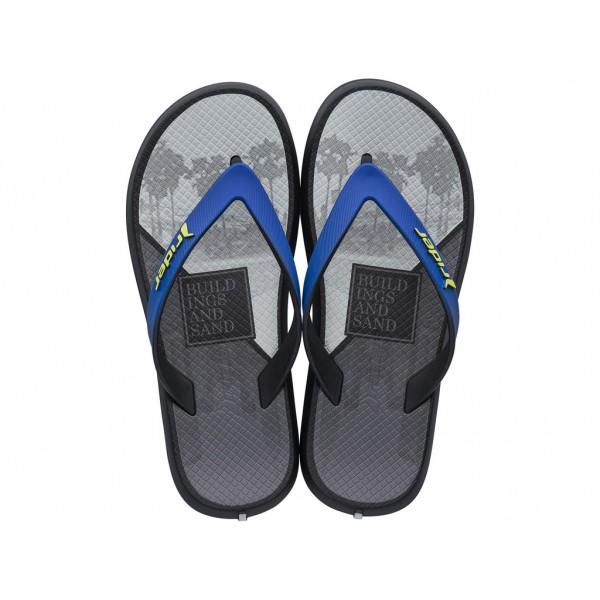 Комфортни юношески чехли с лента между пръстите / Bull Rider 82734/24417 сив-син / MES.BG