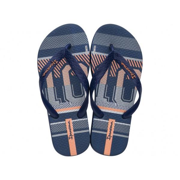 Комфортни детски чехли на доказана бразилска марка / Bull Ipanema 82777/23389 син-оранжев / MES.BG