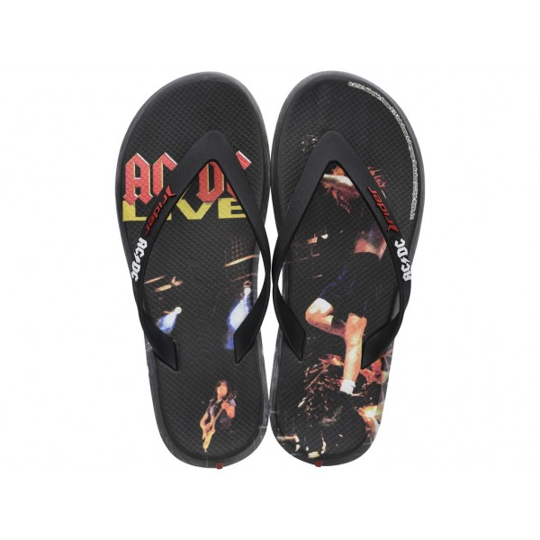 Мъжки бразилски чехли с апликация ''AC/DC''/ Bull Rider 82799/21191 черен-червен / MES.BG