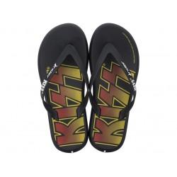 Мъжки бразилски чехли с надпис ''KISS'' / Bull Rider 82808/20566 черен-жълт / MES.BG