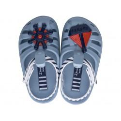 Удобни детски сандалки с велкро лепенка / Bull Ipanema 82858 син-бял / MES.BG