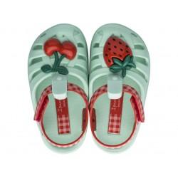 Удобни детски сандалки с велкро лепенка / Bull Ipanema 82858 зелен-червен / MES.BG