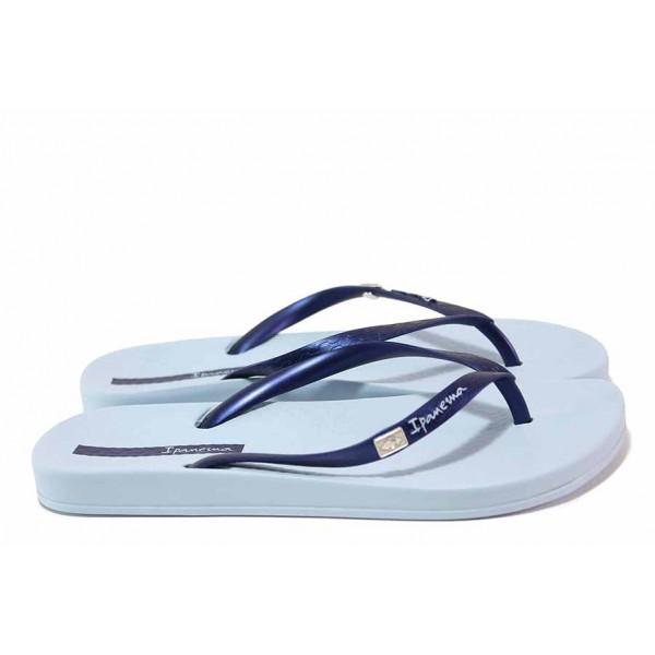 Дамски бразилски чехли с лента между пръстите, анатомично ходило / Ipanema 82932 син / MES.BG