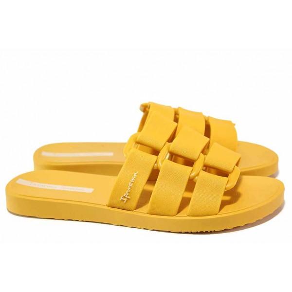 Дамски бразилски чехли с напречни ленти, гъвкави, анатомични / Ipanema 26519 жълт / MES.BG