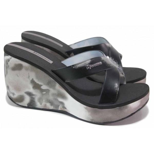 Анатомични бразилски чехли на платформа, кръстосани ленти / Ipanema 83071 черен / MES.BG