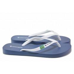 Дамски бразилски чехли, еластично ходило, лента между пръстите / COPACABANA 82790 син-бял / MES.BG