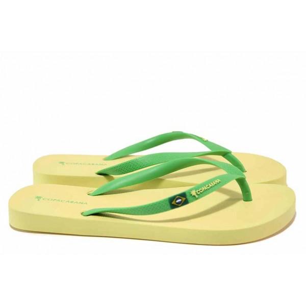 Дамски бразилски чехли в свеж летен цвят, лента между пръстите / COPACABANA 82790 жълт-зелен / MES.BG