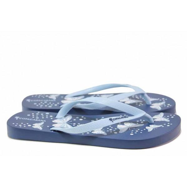 Дамски бразилски чехли с лента между пръстите, принт-пеперуди / COPACABANA 82922 син / MES.BG