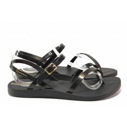 Анатомични бразилски сандали, кръстосани ленти, еластична подметка / Ipanema 82842 черен-злато / MES.BG