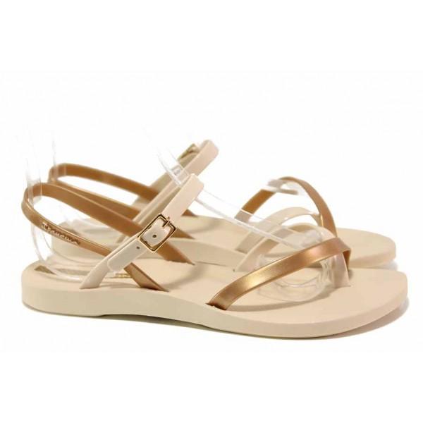 Дамски бразилски сандали, анатомични, еластична подметка / Ipanema 82842 бежов-злато / MES.BG