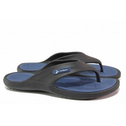 Мъжки чехли с лента между пръстите, анатомични, леки / Rider 82818 черен-син / MES.BG