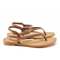 Стилни дамски сандали, гъвкави, анатомични / Grendha 17625 кафяв / MES.BG