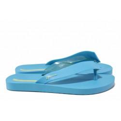 Дамски чехли с лента между пръстите, атрактивна форма, гъвкави / Ipanema 26445 син / MES.BG