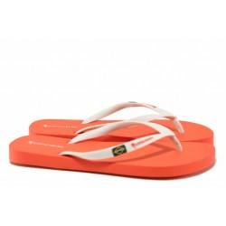Леки дамски чехли с лента между пръстите, еластични / Copacabana 82790 бял-червен / MES.BG