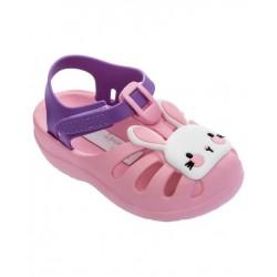 Бебешки сандалки - зайче, велкро закопчаване, затворени пръсти / Bull Ipanema 83074/24581 розов-лилав / MES.BG