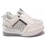 Леки дамски спортни обувки, еко-кожа, платформа, гъвкави / РЕ B-16 бял / MES.BG