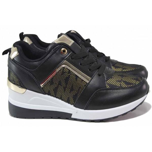 Дамски спортни обувки, еко-кожа, олекотени, гъвкаво ходило / РЕ B-16 черен / MES.BG