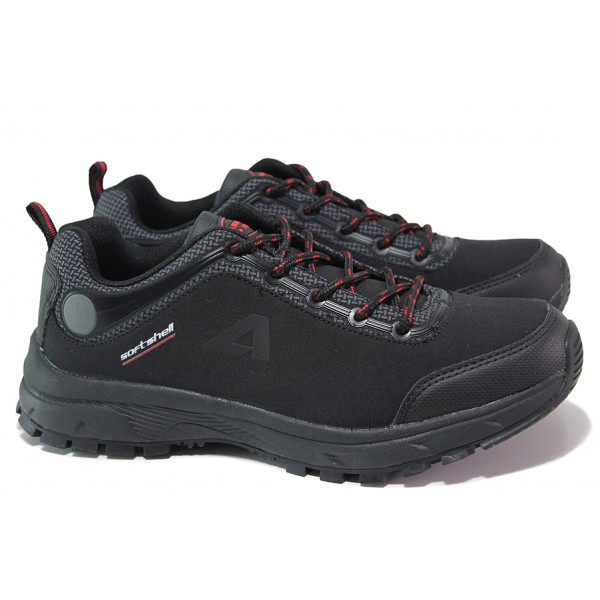 Юношески маратонки, водоустойчиви, протектор, олекотени / АБ HL 04-20 черен-червен / MES.BG