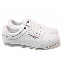 Комфортни мъжки спортни обувки, олекотени, връзки / ЛГ 672 бял / MES.BG