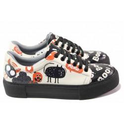 Юношески спортни обувки със закачлив принт, шито ходило / ТЯ 202 черен / MES.BG