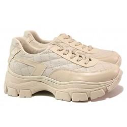 Дамски спортни обувки, еко-кожа, олекотени / ТЯ 3252 бежов / MES.BG