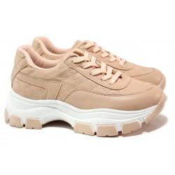 Атрактивни спотртни обувки, дамски, леки, еко-кожа / ТЯ 3252 розов / MES.BG