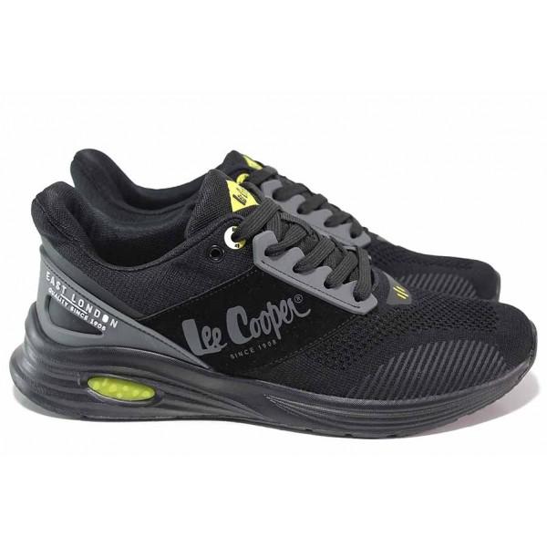Олекотени мъжки маратонки, мека стелка, дишаща материя / Lee Cooper 211-15 черен / MES.BG
