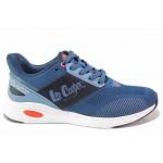 Модерни мъжки маратонки с олекотена подметка, мека стелка, дишаща материя / Lee Cooper 211-15 син / MES.BG