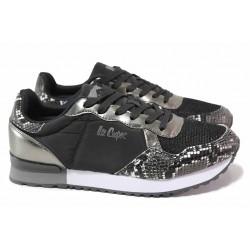 Олекотени дамски маратонки със змийски принт, естествена кожа с текстил, мека стелка / Lee Cooper 211-23 черен-сребро / MES.BG