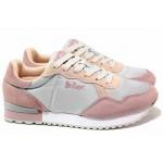 Олекотени дамски маратонки, естествен велур с текстил, мека стелка / Lee Cooper 211-23 сив-розов / MES.BG