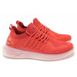 Комфортни мъжки маратонки, олекотено гъвкаво ходило, мека стелка / Lee Cooper 211-20 червен / MES.BG