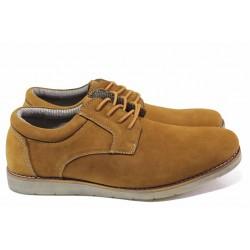Ежедневни мъжки обувки със шито ходило, естествен набук, връзки / АБ CY 03-21 кафяв / MES.BG