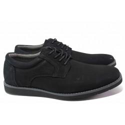 Стилни мъжки обувки, естествен набук, шито ходило / АБ CY 03-21 черен / MES.BG