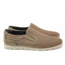 Анатомични мъжки обувки с ластик, естествен набук, олекотени / МИ 136-1 кум / MES.BG