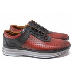 Анатомични мъжки обувки с перфорация, естествена кожа, олекотени / МИ 4030 бордо / MES.BG