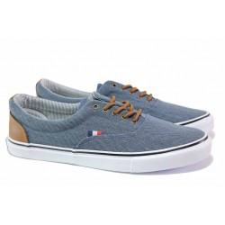 Удобни мъжки спортни обувки, дишаща материя, връзки / АБ LH 48-21 син / MES.BG