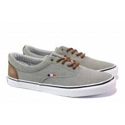 Олекотен модел мъжки спортни обувки, гъвкаво ходило, връзки / АБ LH 48-21 сив / MES.BG