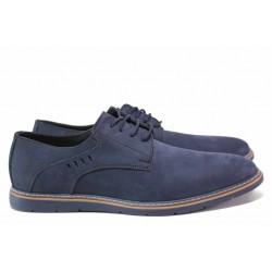 Анатомични мъжки обувки, висококачествен естествен набук, шити / ЛД 382 син / MES.BG
