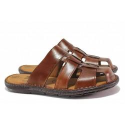 Мъжки чехли със затворени пръсти, шито анатомично ходило, естествена кожа / МИ 080 кафяв / MES.BG