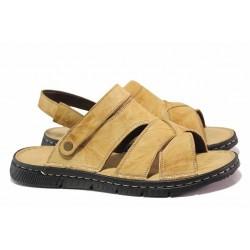 Мъжки чехли-сандали, шито анатомично ходило, естествена кожа / МИ 1765 бежов / MES.BG