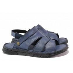 Мъжки чехли-сандали, анатомични, ластик при петата, естествена кожа / МИ 1765 син / MES.BG