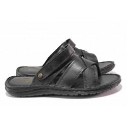 Анатомични мъжки чехли-сандали, гъвкаво ходило, естествена кожа / МИ 06-1 черен / MES.BG