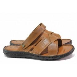 Комфортни мъжки чехли-сандали, анатомични, естествена кожа / МИ 06-2 таба / MES.BG