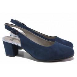 Стилни дамски обувки, еко-велур, гъвкаво FLEX ходило, среден ток / Jana 8-29460-26H т.син / MES.BG
