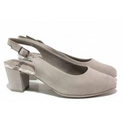 Класически дамски обувки от еко-велур, FLEX ходило, средна височина / Jana 8-29460-26H сив / MES.BG
