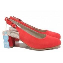 Атрактивни дамски обувки, еко-велур, среден ток с FLEX система / Jana 8-29460-26H червен / MES.BG