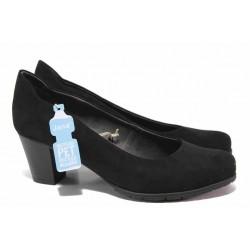 Стилни дамски обувки, еко-велур, среден ток, гъвкави / Jana 8-22467-26H черен / MES.BG
